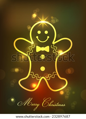 Christmas greeting card with gingerbread man. - stock vector