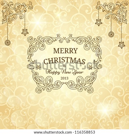 Christmas greeting card with golden background - stock vector