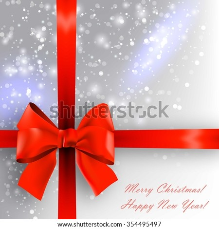 Christmas greeting card with red bow.  - stock vector