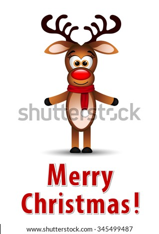Christmas greeting card with reindeer  - stock vector