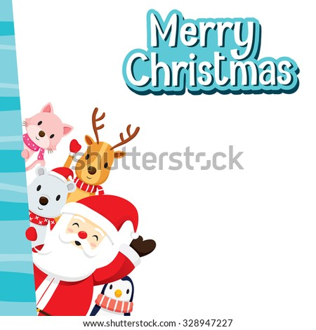 Christmas Greeting Card With Santa Claus And Animals, Merry Christmas, Xmas, Happy New Year, Objects, Animals, Festive, Celebrations - stock vector