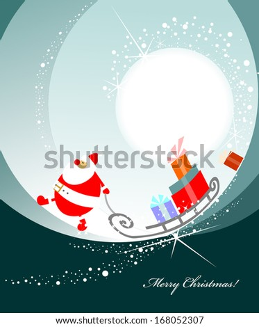 Christmas greeting card with Santa Claus with gifts - stock vector