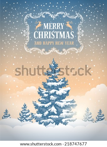 Christmas greeting card with the non-urban landscape and snowfall. Detailed vector picture.  - stock vector