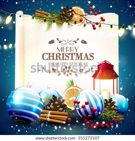 Christmas greeting card with traditional decorations and lantern in front of an old paper with calligraphic lettering - stock vector