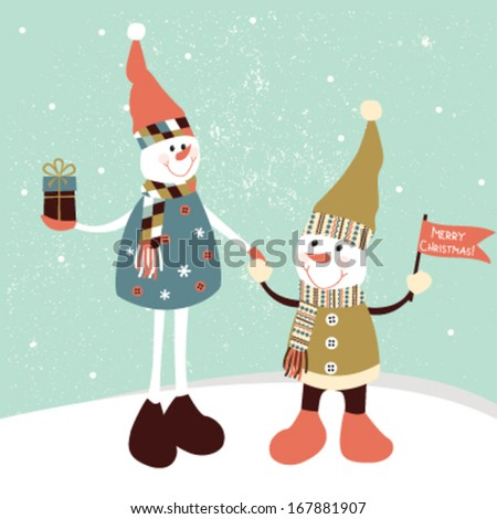 Christmas greeting card with two stylized snowmen. - stock vector