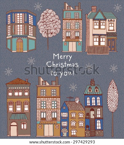 Christmas greeting card with winter landscape and snow-covered village - vector illustration - stock vector