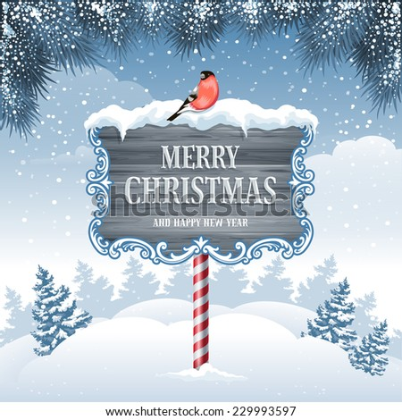 Christmas greeting card with winter landscape and wooden signboard. - stock vector
