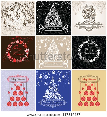 Christmas greeting cards - stock vector