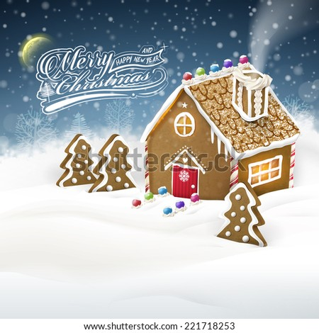 Christmas greeting graphic of gingerbread house over snow field - stock vector