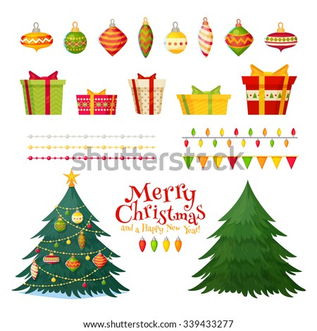 Christmas greetings set with isolated decorative winter objects - baubles, toys, gift boxes, garlands, xmas trees on white background - stock vector