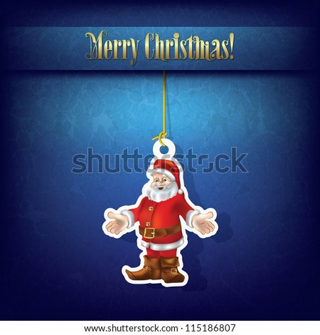Christmas grunge greeting with Santa Claus on blue - stock vector