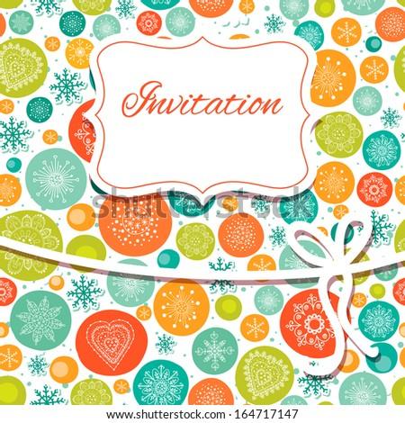 Christmas hand draw invitation card. - stock vector