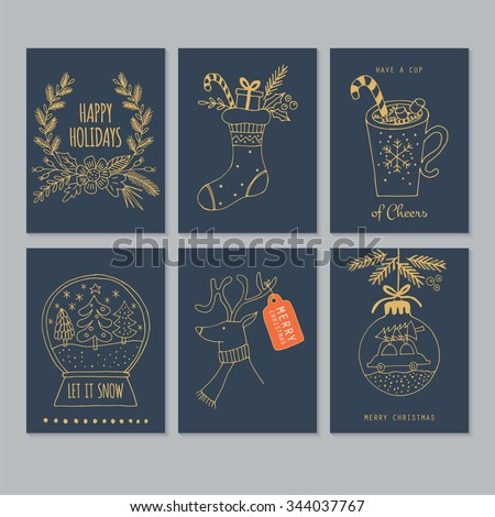 Christmas hand drawing greeting card set in blue and gold. Isolated vector illustration - stock vector