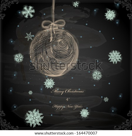 Christmas Hand Drawn Ball with Snowflakes for Xmas design. Chalkboard texture. Chalk Design. - stock vector