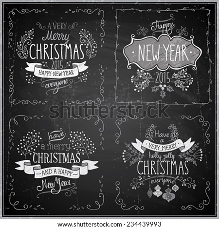 Christmas hand drawn card set - Chalkboard. - stock vector