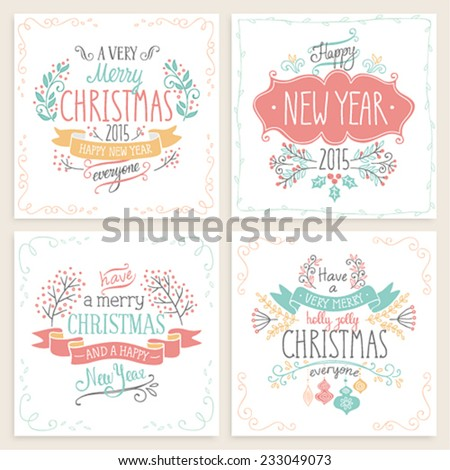 Christmas hand drawn card set. Vector illustration. - stock vector