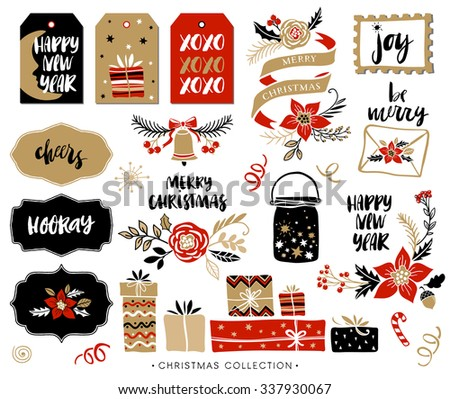 Christmas hand drawn design elements with calligraphy. Handwritten modern brush lettering. Gift tags and gift boxes, Christmas bouquets and compositions. - stock vector