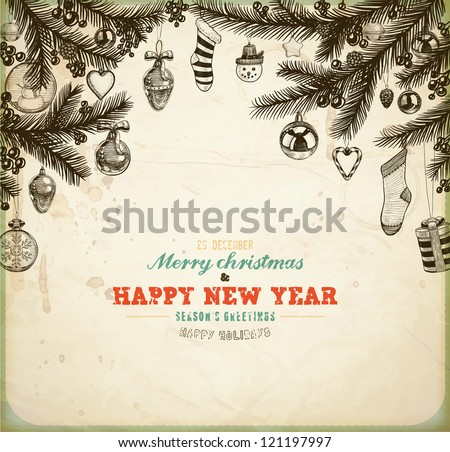 Christmas hand drawn fur tree for xmas design. With balls, toys, candy cane, snowman, socks, hearts, gifts, mistletoe, holly berries and fir-cone. Old paper texture for vintage Xmas invitation design. - stock vector