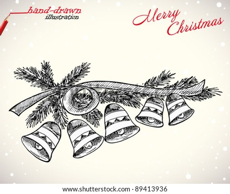 christmas hand-drawn illustration - stock vector
