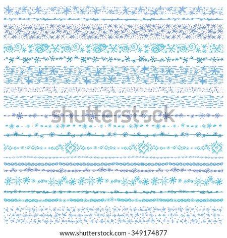 Christmas Hand drawn snow  seamless borders, line brushes.New year doodle pattern textures,snowflakes, stars,point ornament.Decoration vector,cyan set.Winter symbols,brushstroke.White background - stock vector