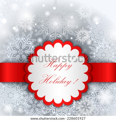 Christmas Happy Holiday tag vector template. - stock vector