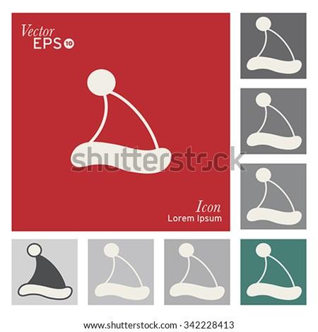 Christmas hat icon - vector, illustration. - stock vector