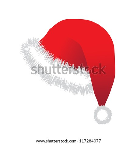 Christmas  hat on green background - stock vector