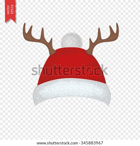 Christmas hat with deer horns for your design. New Year hat. Vector illustration of winter hat isolated on transparent background. - stock vector