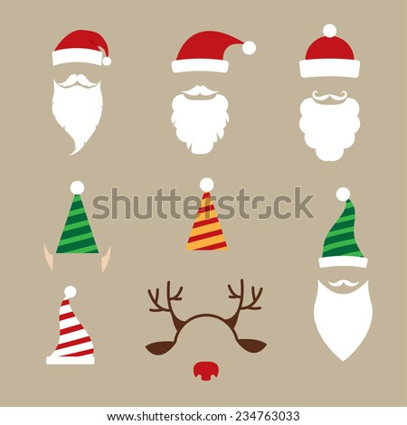 christmas hats, beards, elf hats - stock vector