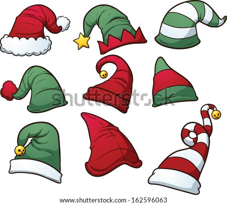 Christmas hats clip art. Vector cartoon illustration with simple gradients. Each hat on a separate layer.  - stock vector