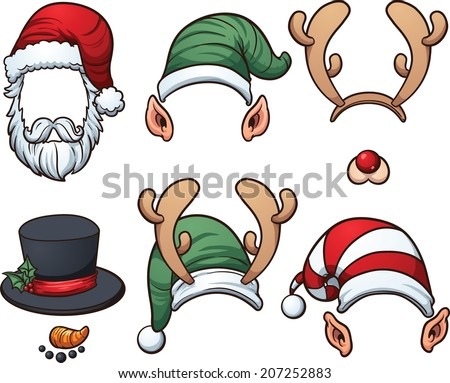 Christmas hats. Vector clip art illustration with simple gradients. Each item on a separate later.  - stock vector