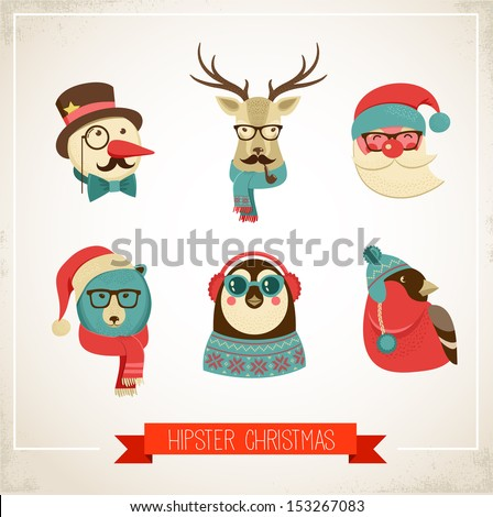 Christmas hipster animals. Vector illustration - stock vector