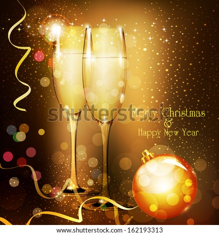 Christmas holiday background with two glasses of champagne - stock vector
