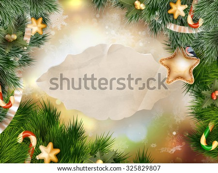 Christmas holiday blinking abstract background with decorated christmas tree. EPS 10 vector file included - stock vector