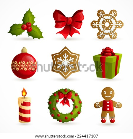 Christmas holiday decoration decorative icons set with mistletoe bow snowflake cookie isolated vector illustration - stock vector