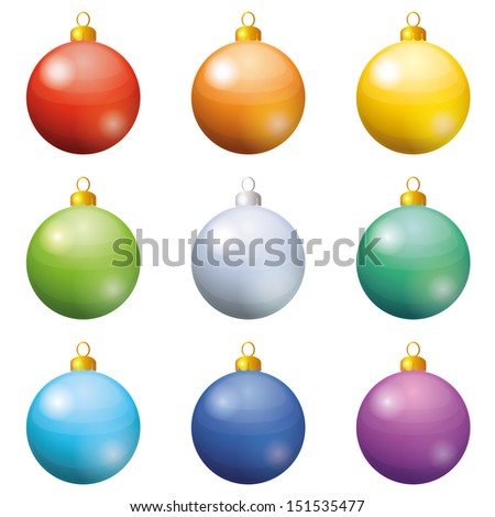 Christmas holiday decoration, set of balls all colors of the rainbow. Eps10, contains transparencies. Vector - stock vector