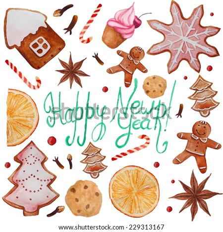 Christmas holiday gingerbread card. Watercolor vintage frame with figure sweets. Hand drawn vector illustration and lettering. - stock vector