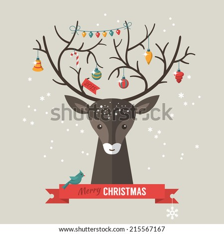 Christmas holiday hipster design with flat icons. Vector illustration - stock vector