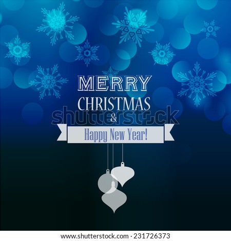 Christmas holiday light blue bokeh background - stock vector