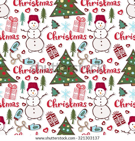Christmas holiday pattern. Cute seamless pattern with snowman, new year tree and gifts - stock vector
