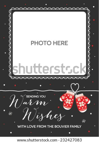 Christmas Holiday Season Greetings Card with Place for a Photo - stock vector