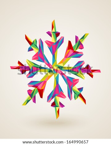 Christmas holiday snowflake rainbow colors triangles origami composition. EPS10 vector file organized in layers for easy editing. - stock vector