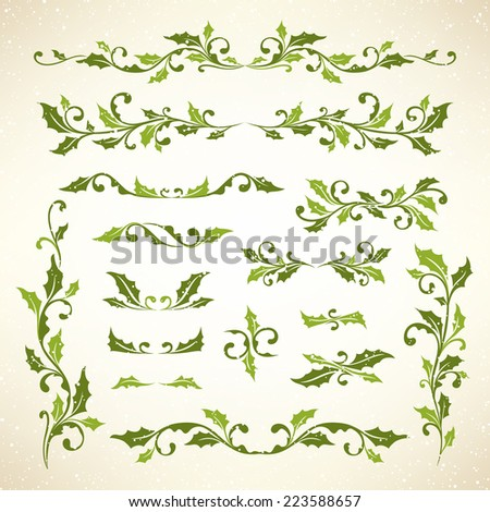 Christmas holly dividers set - stock vector