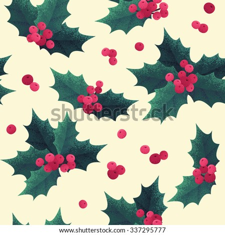 Christmas holly leaves and berries seamless pattern. Retro vector background - stock vector