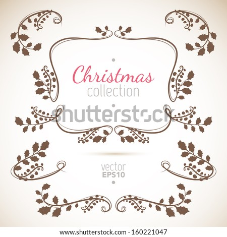 Christmas holly plant silhouette branches - stock vector