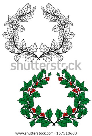 Christmas holly wreath with green leaves and red berries in retro style. Jpeg version also available in gallery - stock vector