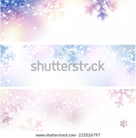 Christmas horizontal banners with defocused snowflakes. Vector illustration. - stock vector