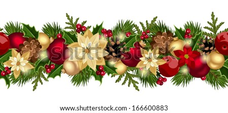 Christmas horizontal seamless background. Vector eps-10. - stock vector