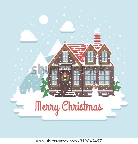 Christmas house on a background of winter mountains. Flat style: christmas house in mountains. Little cottage in mountains. Merry Christmas card. Christmas time  - stock vector