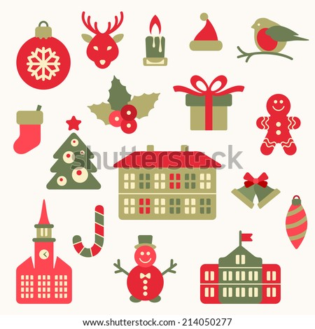 Christmas icon collection - stock vector